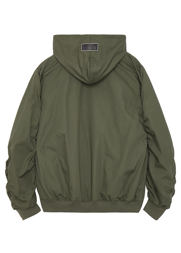 HOODED BOMBER JACKET -OLIVE