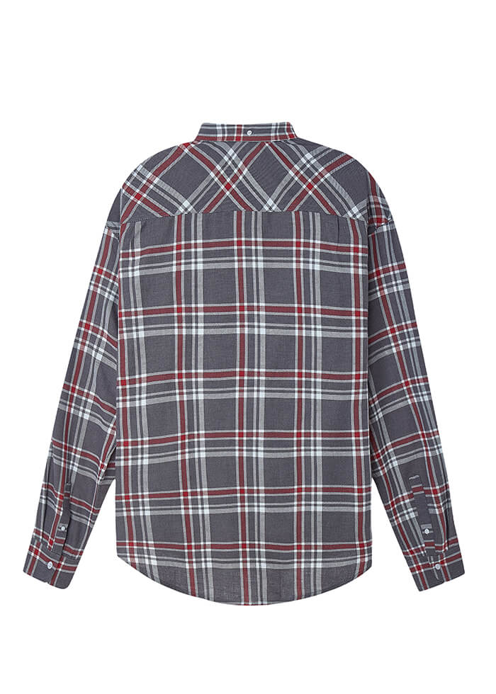 EMBROIDERED FLANNEL/WOLF GREY