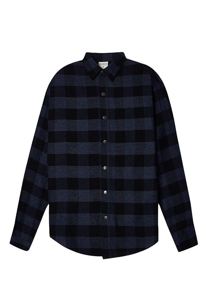 CHECK PLAID JACKET/MOONLIGHT BLUE