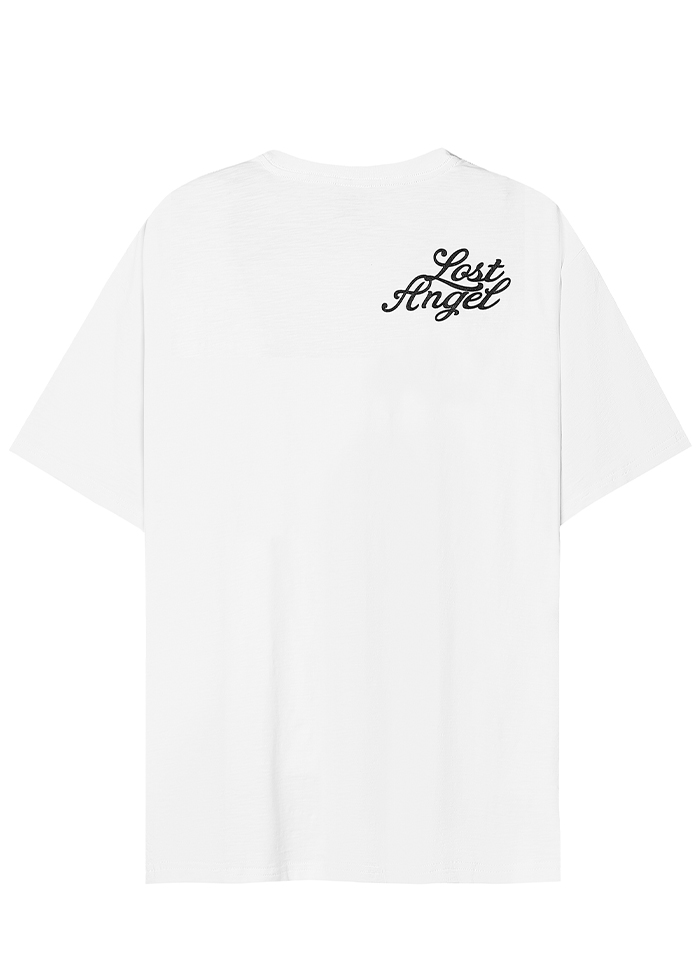 EMBROIDERED LOGO TEES/ WHITE