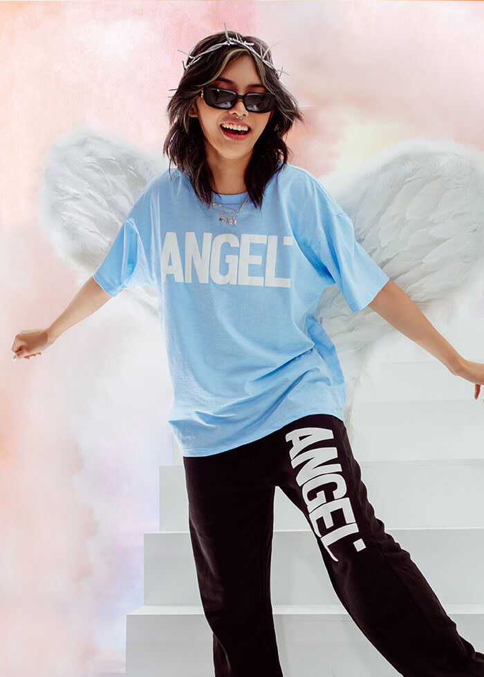 ANGEL LOGO TEES/ BABY BLUE